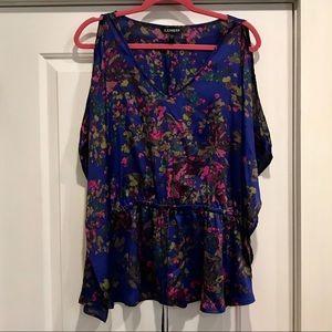 Express, V-neck, cold shoulder blouse, size Large